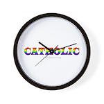 Catholic Gay and Lesbian Rainbow Flag Wall Clock