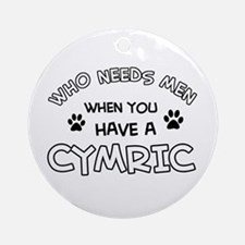 Cymric Cat Designs Round Ornament