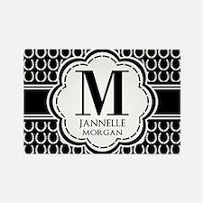 Black and White Custom Monogram Rectangle Magnet