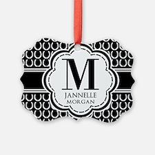 Black and White Custom Monogram Ornament
