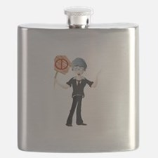 Young boy holding no parking board Flask