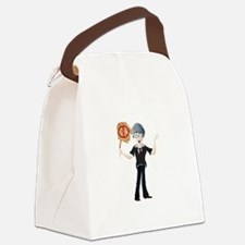 Young boy holding no parking boar Canvas Lunch Bag