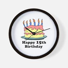 Happy 15th Birthday Wall Clock