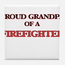 Proud Grandpa of a Firefighter Tile Coaster