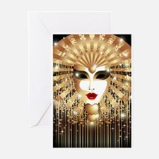 Golden Venice Carnival Mask Greeting Cards