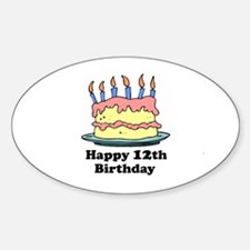 Happy 12th Birthday Oval Decal