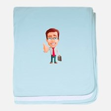 Cartoon Businessman Character With Ti baby blanket