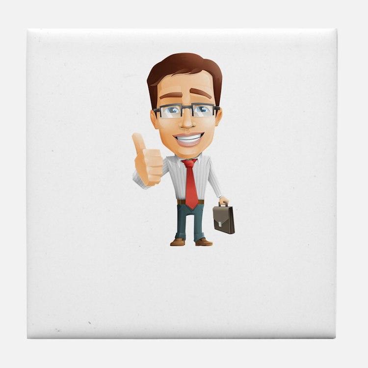Cartoon Businessman Character With Ti Tile Coaster