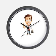 Cartoon Businessman Character With Tie Wall Clock