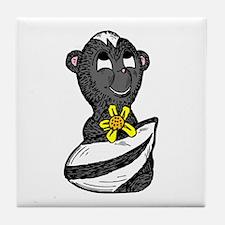 Skunk with a flower Tile Coaster