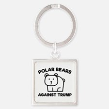 Polar Bears Against Trump Square Keychain