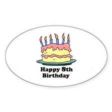 Happy 8th Birthday Oval Decal