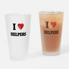I love Helpers Drinking Glass