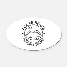 Polar Bears Against Trump Oval Car Magnet