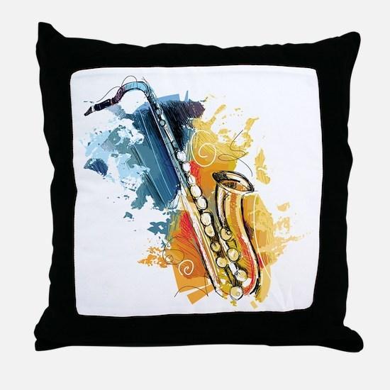 Saxophone Painting Throw Pillow