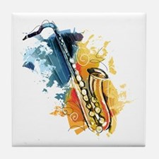 Saxophone Painting Tile Coaster