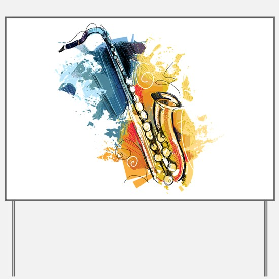 Saxophone Painting Yard Sign
