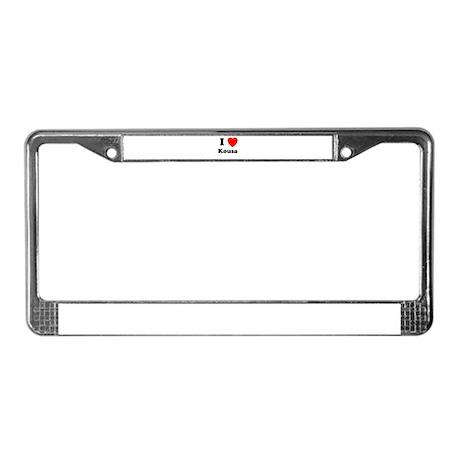 I Heart Kousa License Plate Frame
