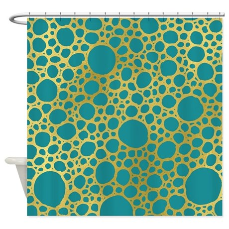 Gold Teal Circle Shower Curtain By DreamingMindCards