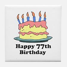 Happy 77th Birthday Tile Coaster