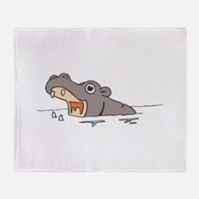 Hippo in Water Throw Blanket
