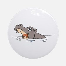 Hippo in Water Round Ornament