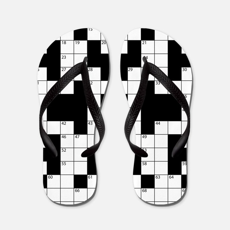 Crossword Pattern Decorative Flip Flops