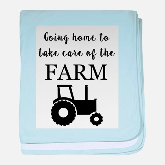 Going home to take care of the farm baby blanket