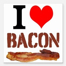 "I Love Bacon Square Car Magnet 3"" x 3"""