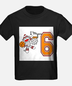 SockMonkey Hoops 6th Birthday T-Shirt