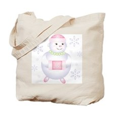 Pretty in Pink Snowman Tote Bag