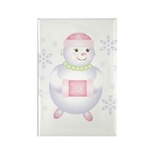 Pretty in Pink Snowman Rectangle Magnet