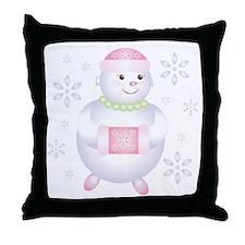 Pretty in Pink Snowman Throw Pillow