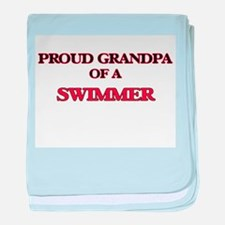 Proud Grandpa of a Swimmer baby blanket