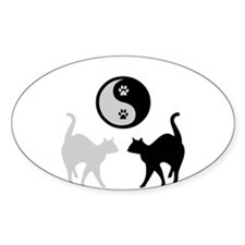 YIN YANG CATS PAWS Oval Decal
