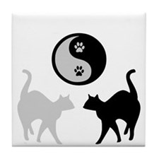 YIN YANG CATS PAWS Tile Coaster