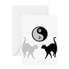 YIN YANG CATS PAWS Greeting Card