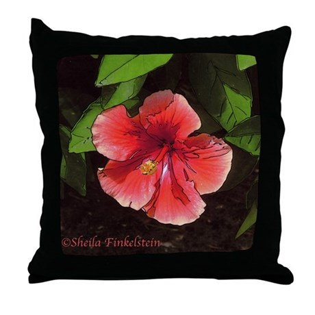 Red Hibiscus Decorative Pillow : Red-orange hibiscus flower Throw Pillow by natureart