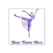 Personalized Ballet Square Sticker 3