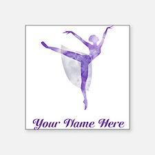 "Personalized Ballet Square Sticker 3"" x 3"""