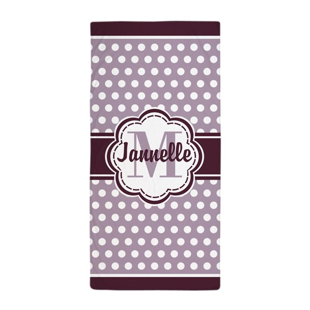 Lavender Purple Polka Dots Monogram Beach Towel By