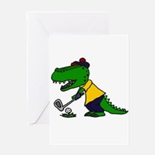 Alligator Playing Golf Greeting Cards