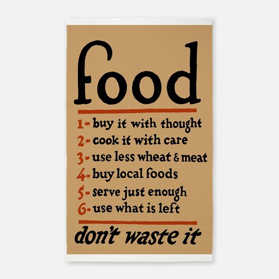 Food; Don't Waster It; Vintage WPA Poster Area Rug