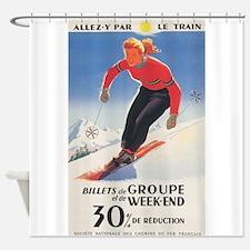 Billets de Groupe, French Ski Poste Shower Curtain