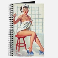 Pin Up Girl in White Bathroom Journal