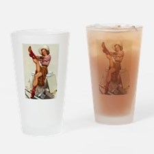 Pin Up Girl and Cowboy Boots Drinking Glass