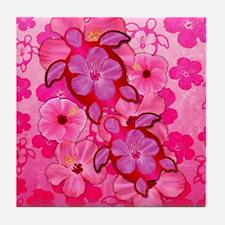 Pink Flowers And Honu Turtles Tile Coaster