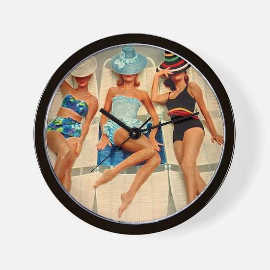 Retro Sunbathers Trio Wall Clock