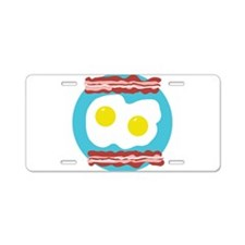 Bacon and Eggs Aluminum License Plate