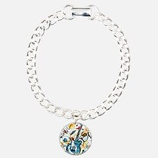 Guitar Drawing Charm Bracelet, One Charm